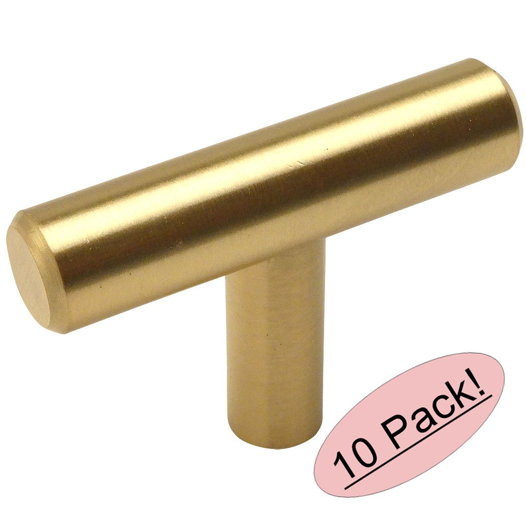 "Cosmas 305BB Brushed Brass Cabinet Hardware Euro Style T Bar Knob - 2"" Overall Length - 10 Pack"