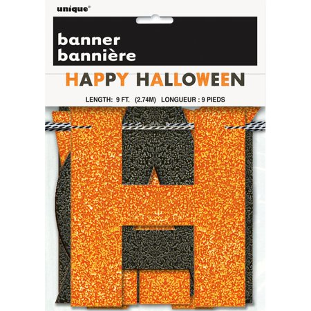 Glitter Happy Halloween Banner, 9 ft, Orange and Black, - Happy Halloween Glitter Sign