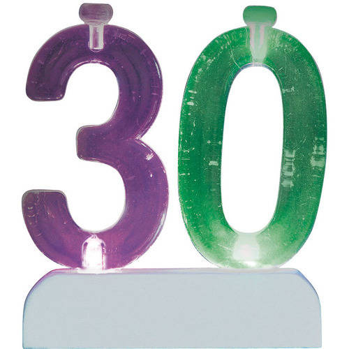 Blinking Number 30 Candle Holder and Birthday Candle Set, 5 Pieces