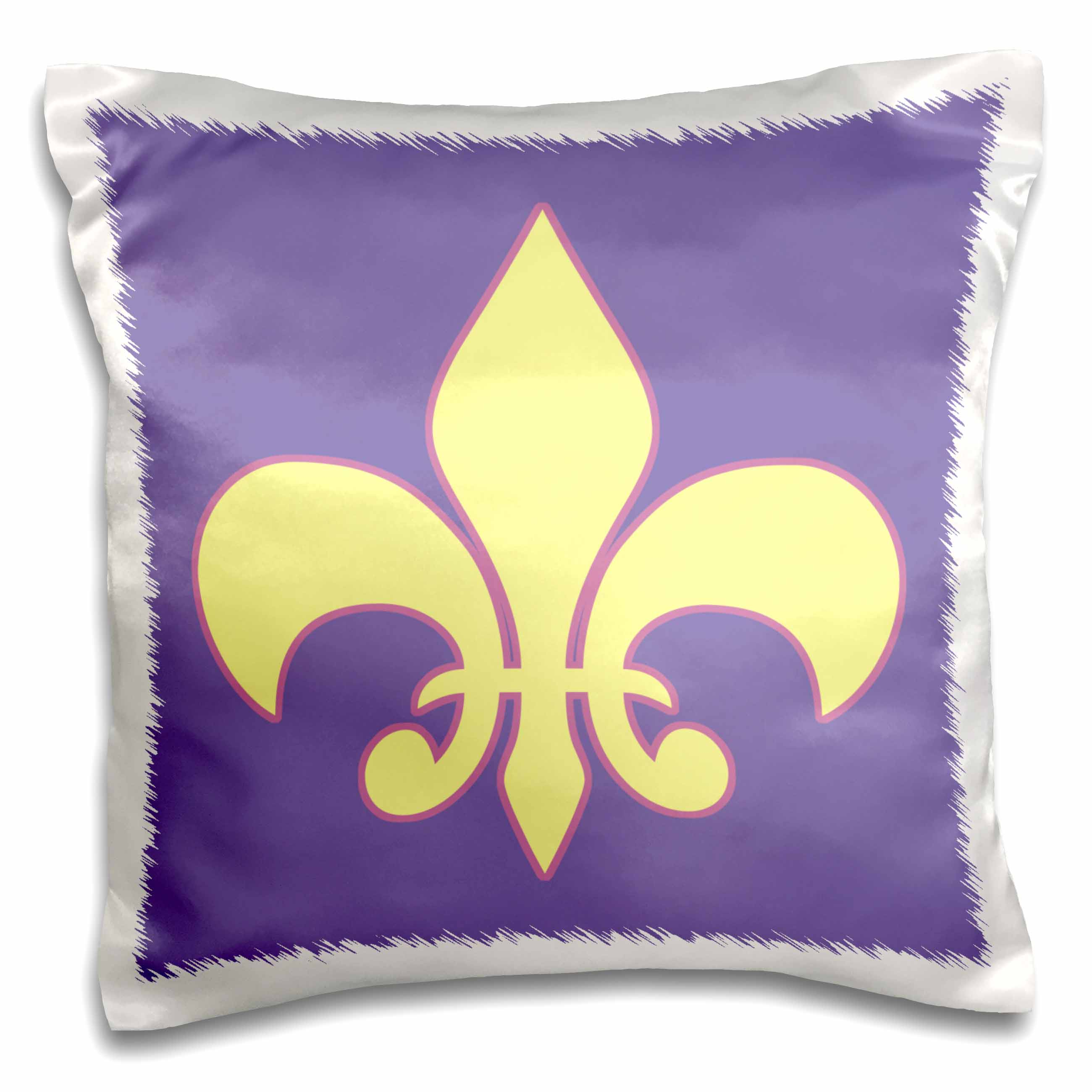 3dRose Pale Canary Yellow Fleur-de-lis outlined purple, lavender background, Pillow Case, 16 by 16-inch