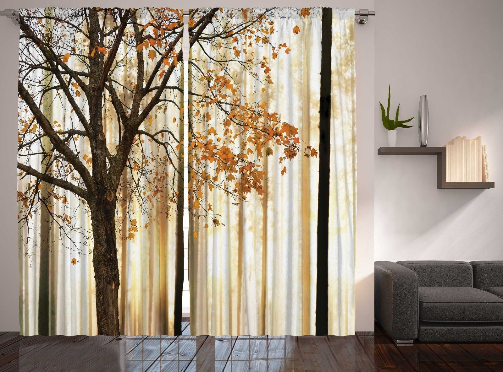 Fall Trees Abstract Art Bedroom Living Room Curtains 2 Panels Set 108x90  Inches