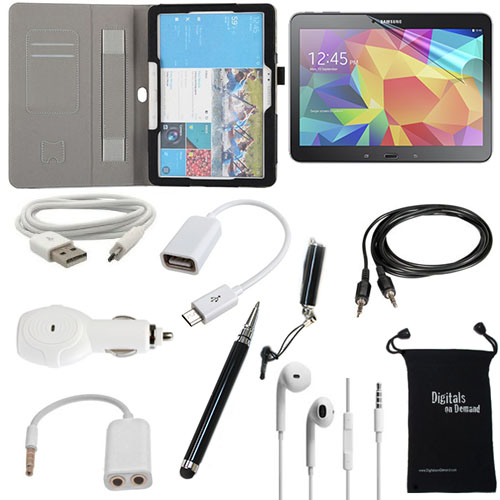Samsung Galaxy Tab 4 10.1 (10.1-Inch) 10-Item Accessory Bundle - Leather Case, Screen Protector, Touch Stylus Pen, USB Cable, Car Charger, Earphones and Splitter, Micro 2.0 USB OTG, AUX, Travel Bag
