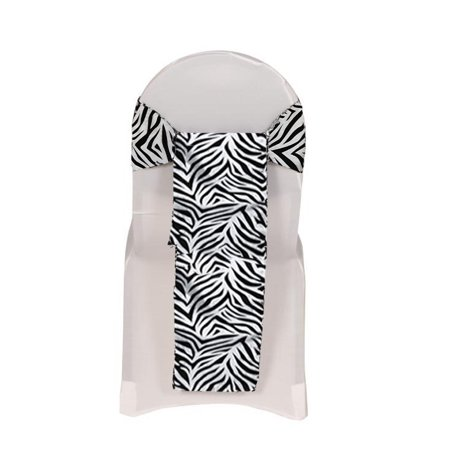 Your Chair Covers - Damask Zebra Taffeta Sashes White and Black (Pack of 10) for Wedding, Party, Birthday, Patio, etc. - Zebra Party Decorations