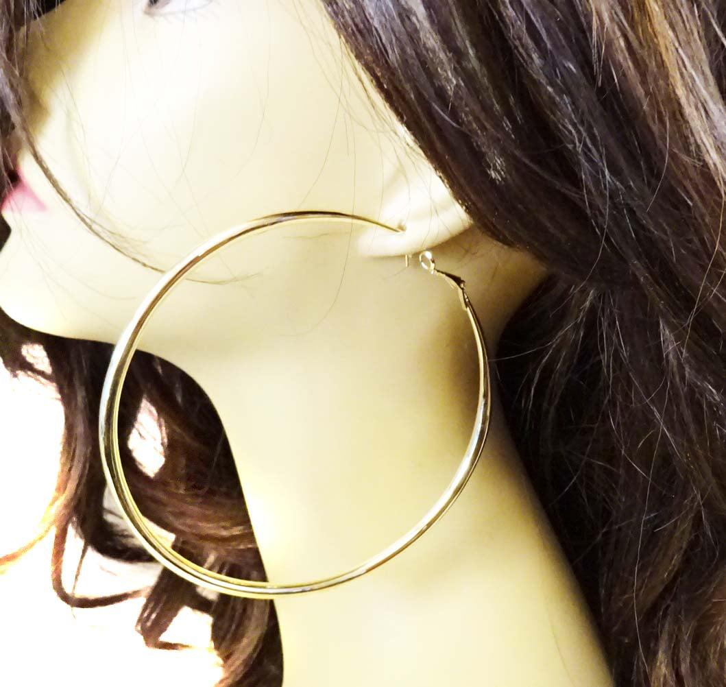 Muse Large Round Hoop Shiny Gold Hoop Earrings 4 Inch Solid Hoop