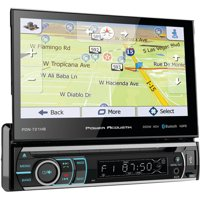 """Power Acoustik PDN-721HB 7"""" Incite Single-DIN In-Dash GPS Navigation Motorized LCD Touchscreen DVD Receiver with Detachable Face and Bluetooth"""