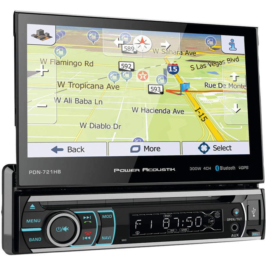 "Power Acoustik PDN-721HB 7"" Incite Single-DIN In-Dash GPS Navigation Motorized LCD Touchscreen DVD Receiver with Detachable Face and Bluetooth"
