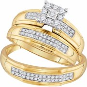 Roy Rose Jewelry 10K Yellow Gold His & Hers Round Diamond Matching Bridal Wedding Ring Band Set 3/8-Carat tw