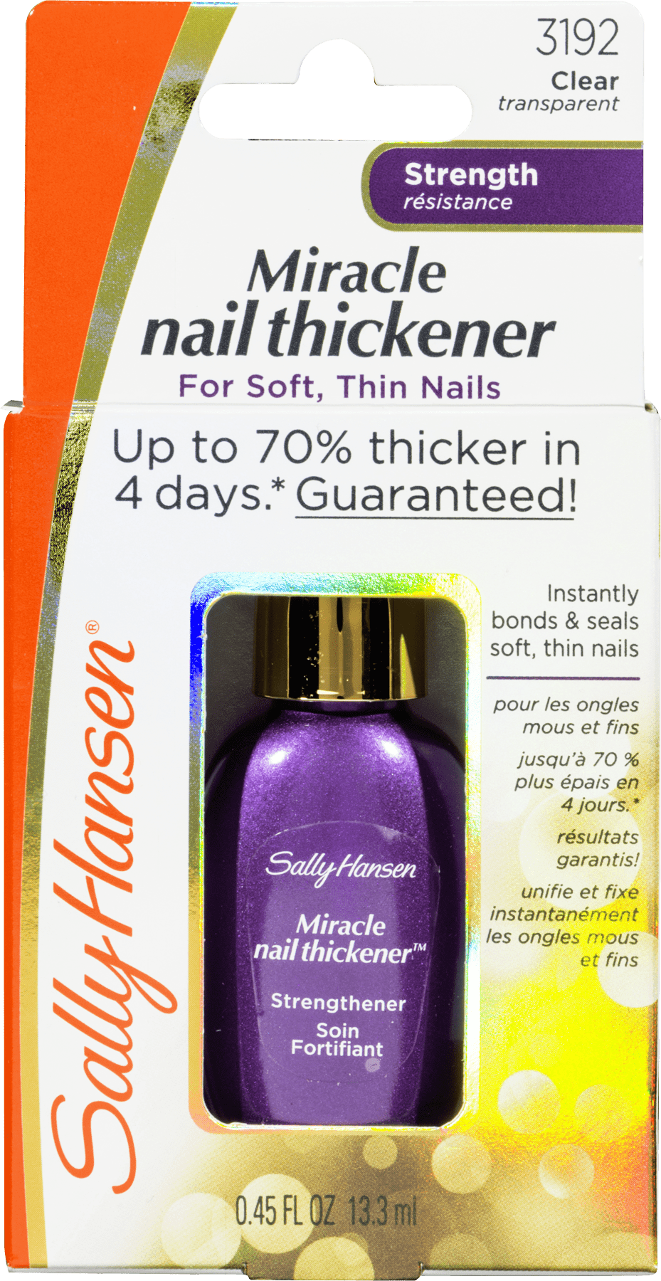 Sally Hansen Miracle Nail Thickener Strength 3192 Clear, 0.45 FL OZ ...