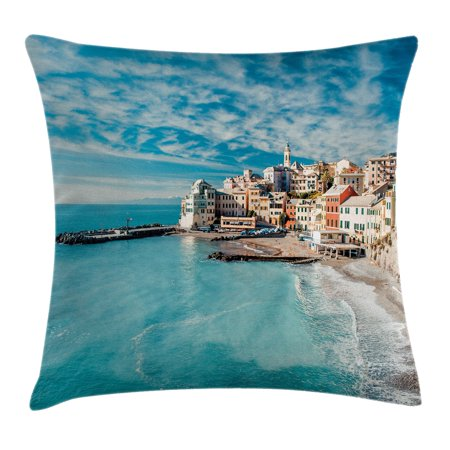 Farm House Decor Throw Pillow Cushion Cover, Panorama of Old Italian Fish Village Beach Old Province Coastal Charm Image, Decorative Square Accent Pillow Case, 18 X 18 Inches, Turquoise, by Ambesonne