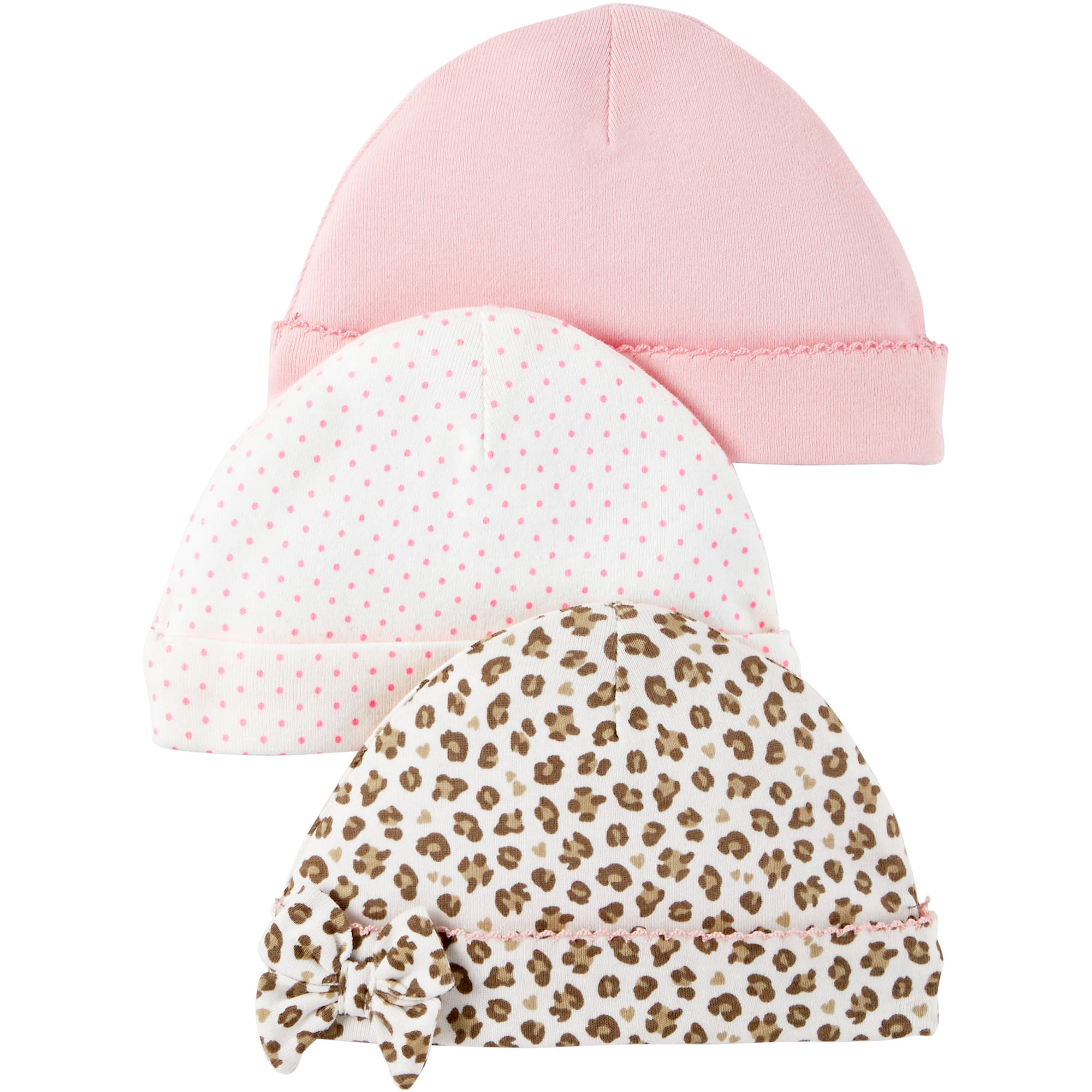 Child Of Mine by Carter's Newborn Baby Girl Caps, 3-Pack