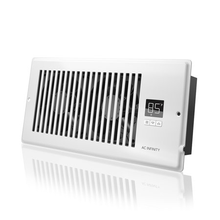 """AC Infinity AIRTAP T4, Quiet Register Booster Fan with Thermostat Control. Heating Cooling AC Vent. Fits 4"""" x 10"""" Register Holes."""