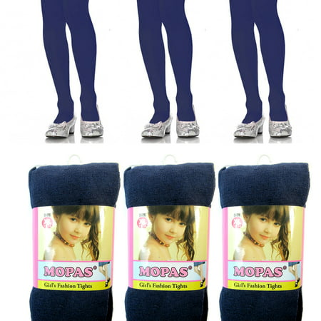 (3 Pairs Navy Girls Kids Footed Tights Dance Stockings Pantyhose Ballet XL 11-14)