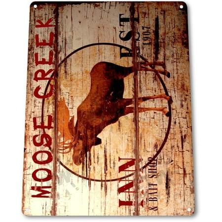 - TIN SIGN B325 Moose Creek Lodge Inn Log Cabin Farm Cottage Rustic Metal Decor, By Tinworld