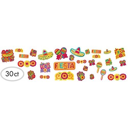 Amscan Cinco De Mayo Fiesta Assorted Cutouts Value Pack Decorations (30 Piece), Multi Color, 14.1 x 12.5