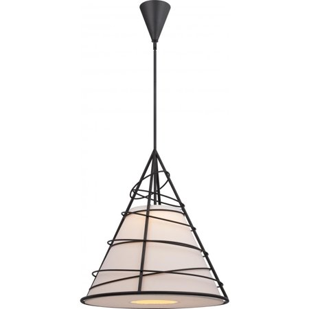 Nuvo Lighting  Toro Jute, Stainless Steel, and Glass LED Cone Pendant - Width 24.13