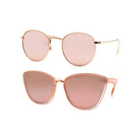 Time and Tru Women's Metal Sunglasses 2-Pack Bundle: Round Sunglasses and Cat-Eye (Hollywood Star Sunglasses)