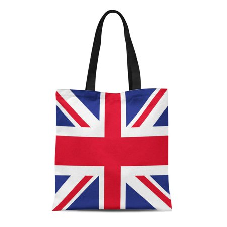SIDONKU Canvas Tote Bag Blue Jack Uk Flag Red Union British Britain Color Durable Reusable Shopping Shoulder Grocery (Uk Blue Color)