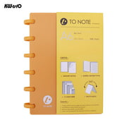 KW-trio Portable A6 Hardcover Loose Journal Notebook Refillable Writing Paper Mushroom Holes 6-Ring Binder Perfect for Travel Office Home School Students