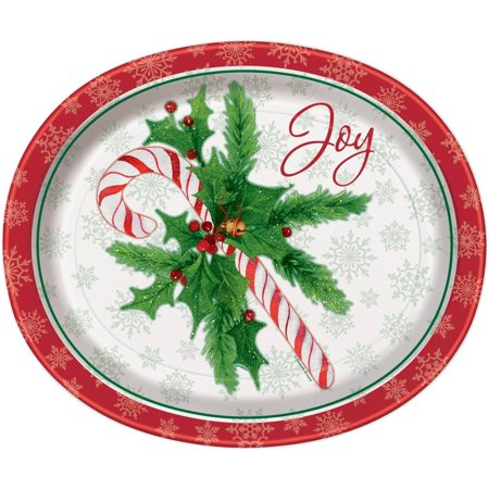 Candy Cane Christmas Oval Paper Plates, 12.25 in, 8ct - Christmas Plates