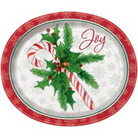 Candy Cane Christmas Oval Paper Plates, 12.25in, 8ct
