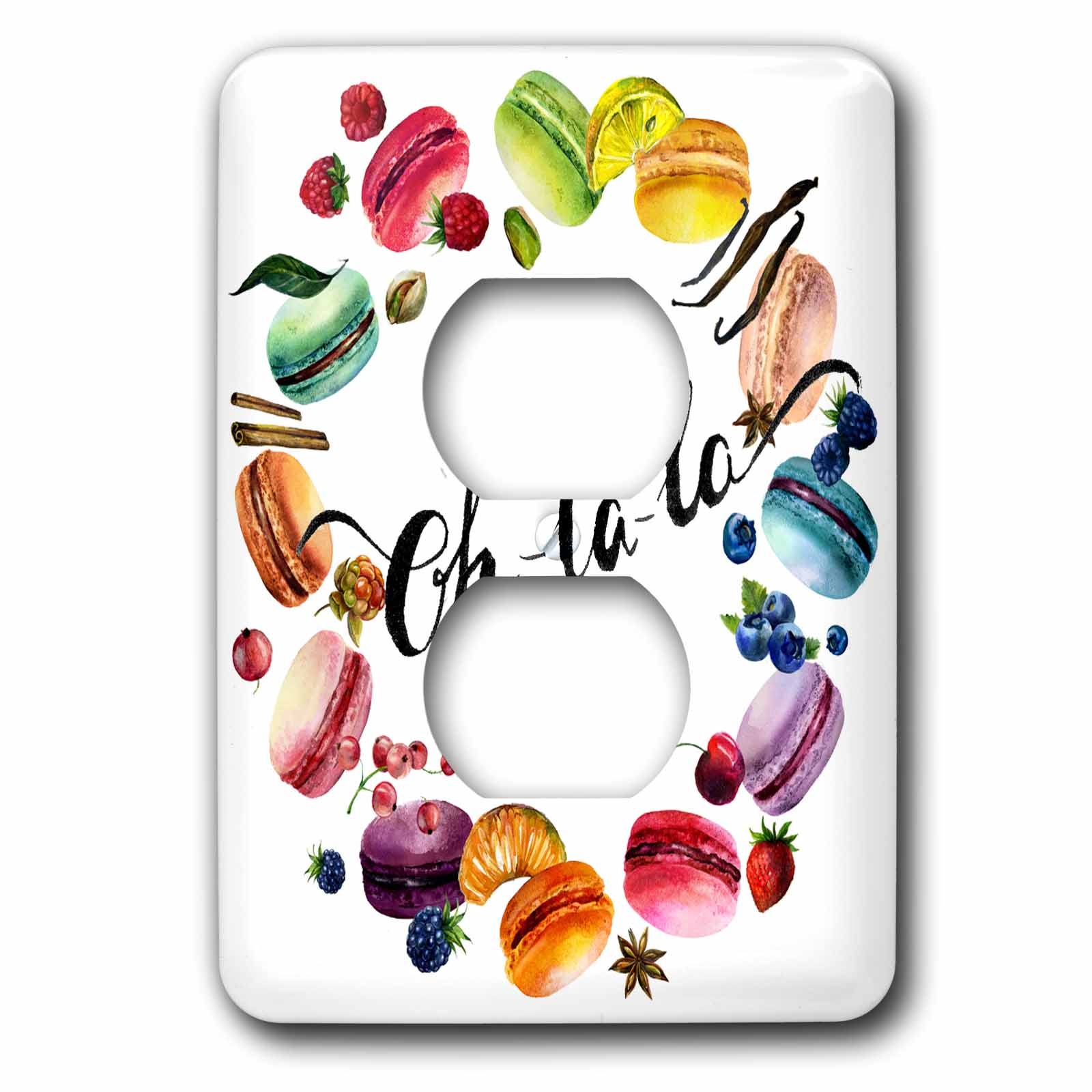 3dRose Cute Watercolor French Macaroon Cookies Wreath With Oh La La - 2 Plug Outlet Cover