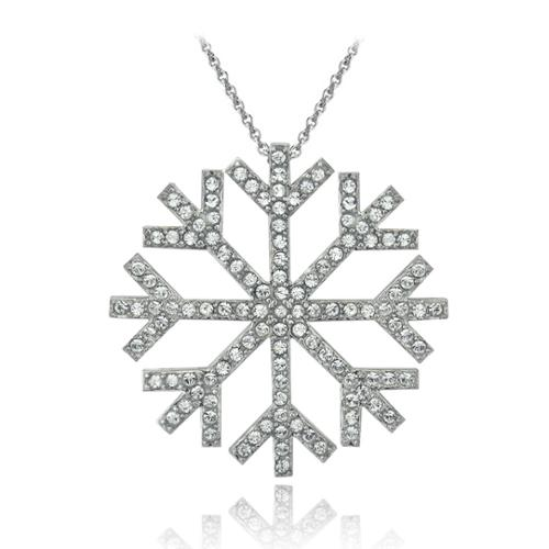 Bria Lou Silver Flashed Snowflake Pendant Necklace Made with Swarovski Crystals, 18""