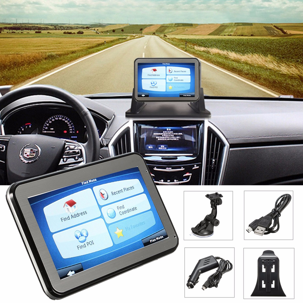 4.3 inch Touch Screen 8G Windows CE 6 Car GPS Built-in Map Of Europe +