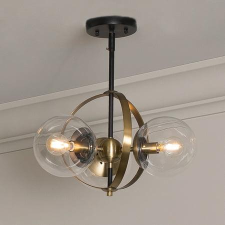 Griggs Globe 3 Light Semi Flush Mount Ceiling Light