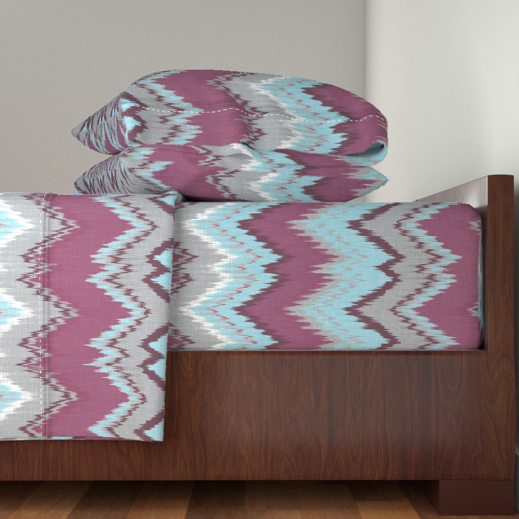 Ikat Chevron Plum Eggplant Aqua Gray 100% Cotton Sateen Sheet Set by Roostery
