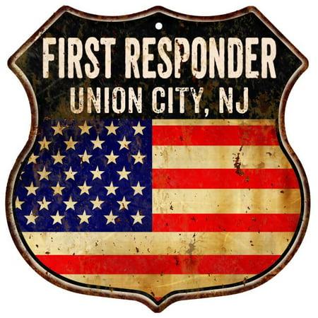 Union City  Nj First Responder American Flag 12X12 Metal Shield Sign S122789