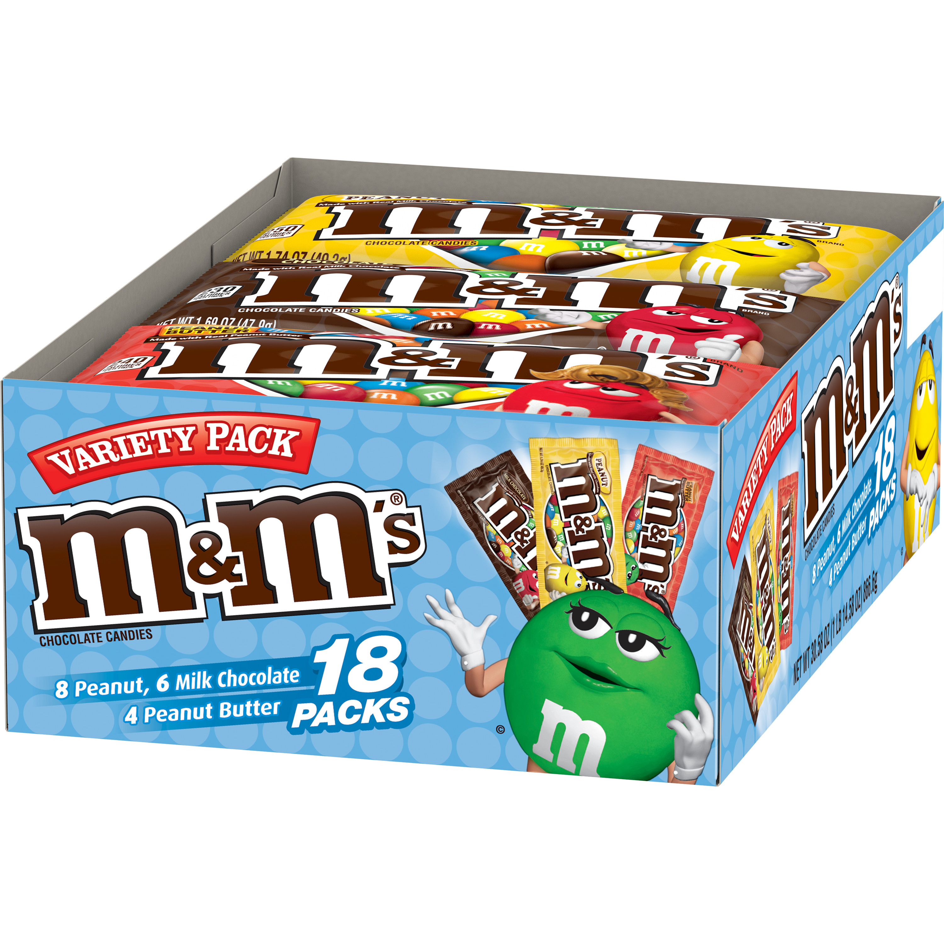 M&M'S Variety Pack Milk Chocolate Candy | Contains 18 Single Size Packs, 30.58 Oz. | Peanut, Peanut Butter, Milk Chocolate