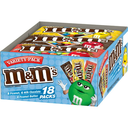 M&M'S Variety Pack Chocolate Candy Singles Size, 30.58 Ounce, 18 Count Box - Chocolate Dipped Halloween Treats
