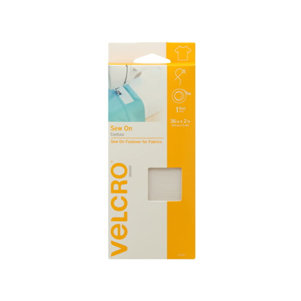 """Priced per Foot 2/"""" Wide White VELCRO® Brand Sew-On Type Hook and Knit Loop Set"""