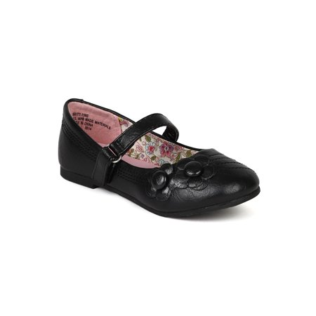 Little Angel BC64 Leatherette Floral Velcro Mary Jane Strap Ballerina Flat (Toddler/ Little Girl/ Big Girl)