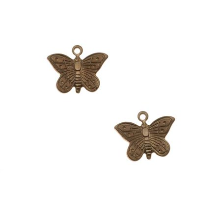 Cute Charms (Vintaj Natural Brass Cute Teensie Butterfly Charms 11mm)