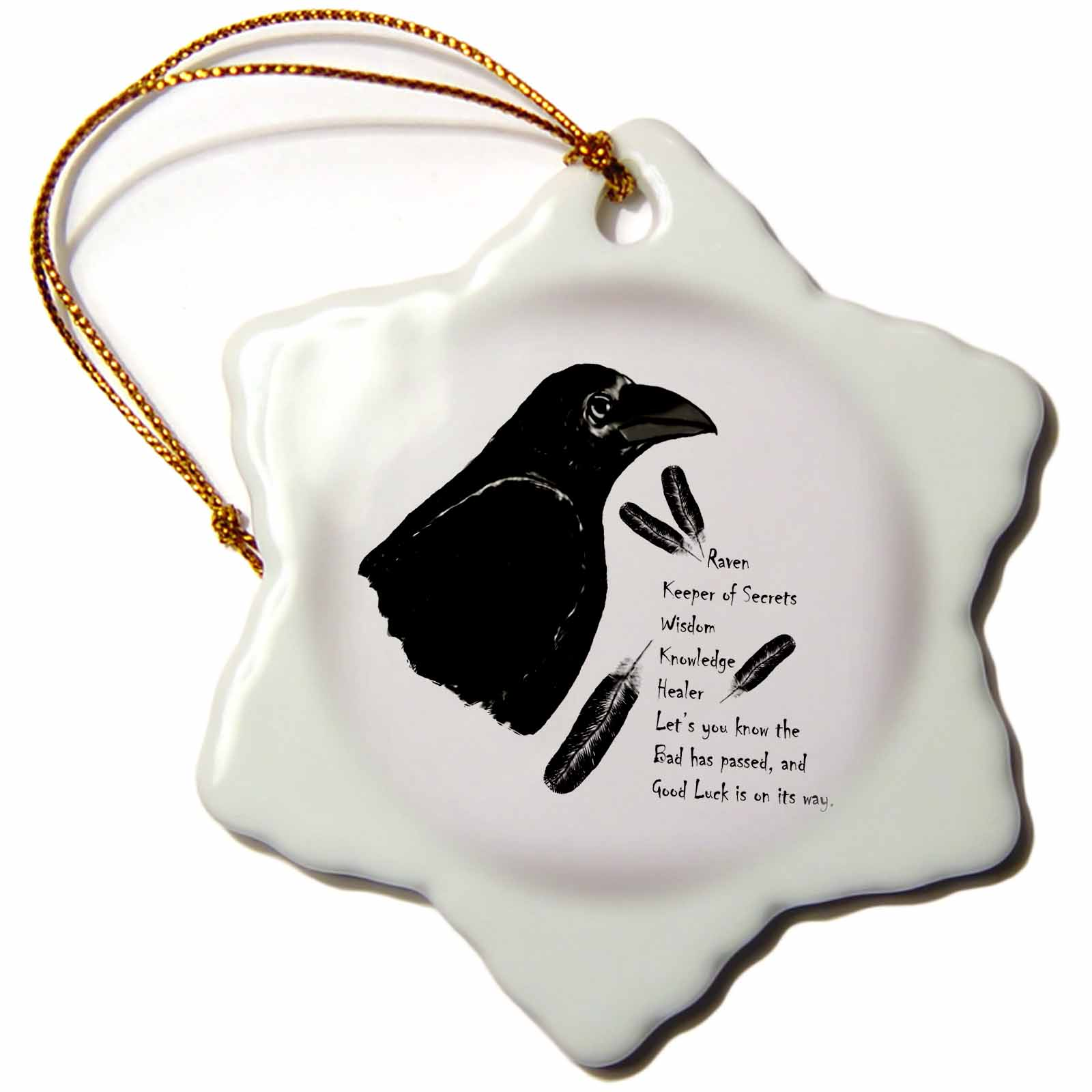 3dRose Meaning of Raven is a picture I drew with Native American Beliefs, Snowflake Ornament, Porcelain, 3-inch