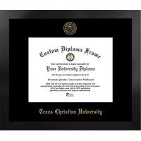 Texas Christian University 11w x 8.5h Nova Black Single Mat Gold Embossed Diploma Frame with Bonus Campus Images Lithograph (value savings at $59)