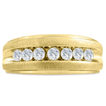 Men's 3/4ct Diamond Ring In 10K Yellow Gold I-J-K I1-I2 Size 8