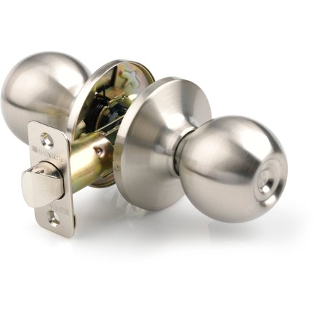 - Brink's Hall and Closet Ball Style Door Knob Lock, Satin NIckel