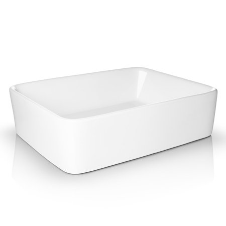 "Miligore 19"" x 15"" Rectangular White Ceramic Vessel Sink - Modern Above Counter Bathroom Vanity Bowl"