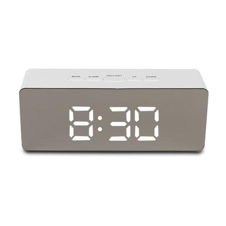 Tsv Alarm Clock Large Digital Led Display Portable Modern Battery Operated Mirror Usb Ed Smart