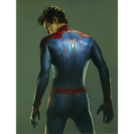 Andrew Garfield in a Spiderman Costume Looking Back in Gray Background Photo Print