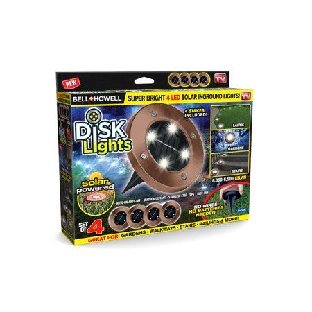 Bell + Howell Disk Lights Outdoor Solar Garden Lights, As Seen on TV! 4 PACK - Bronze Bell Head Path Light