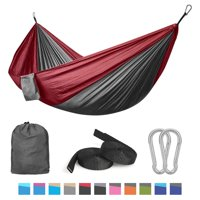 QF Camping Hammock Double Single with Tree Straps Lightweight Parachute Portable Hammocks for Hiking, Travel, Backpacking, Beach, Yard Gear Includes Nylon Straps & Steel Carabiners