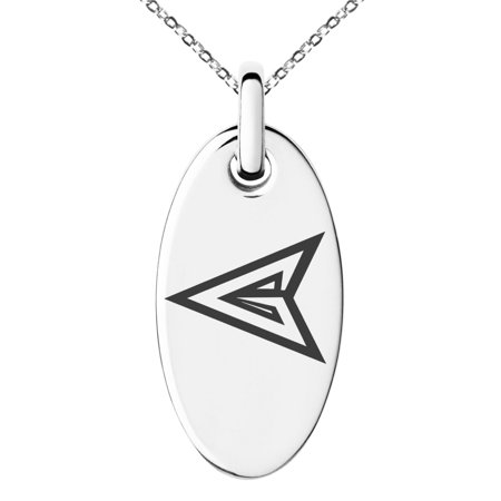 Stainless Steel DC Green Arrow Logo Engraved Small Oval Charm Pendant Necklace
