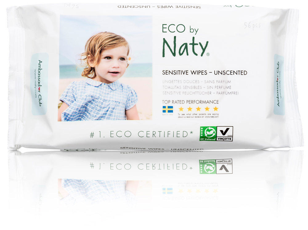 Naty, ECO by Naty Baby Wipes, Unscented, 3 packs of 56 (168 count) by ECO by Naty