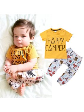 3c069a493d Product Image Newborn Infant Baby Boys Girl Letter T-shirt Tops Long  Cartoon Pants Outfits Set Clothes