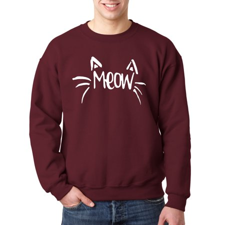 New Cube - New Way 844 - Crewneck Meow Cat Whiskers Ears Cute Funny Sweatshirt Small Maroon