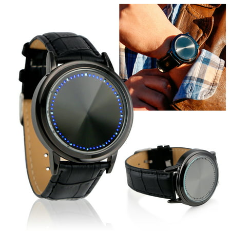Fashion Faux Leather Band Touch Screen LED Unique Tree Digital Wrist Watch Blue Light