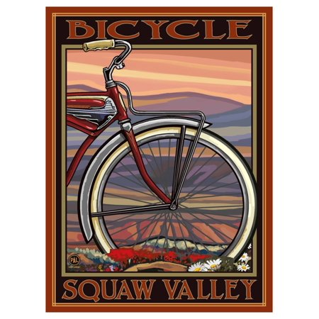 Squaw Valley California Downhill Biker Mountains Giclee Art Print Poster by Paul A. Lanquist (9
